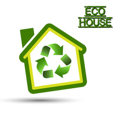 Green Eco House with recycling symbol.