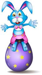 A rabbit above an easter egg