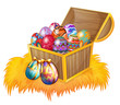 A wooden box with easter eggs
