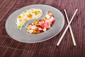 Chinese asian seafood and rice at side dish