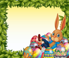 A male bunny in a leafy frame border