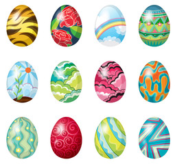 A dozen of colorful easter eggs