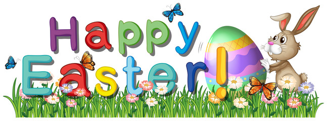 A happy easter greetings in the garden
