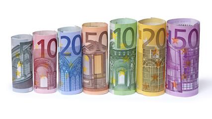 Geld, Euroscheine gerollt
