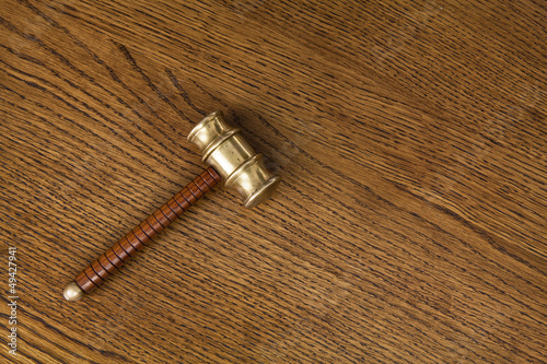 gavel on wood background