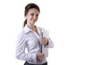 smiling businesswoman with a notebook in her hands isolated on w