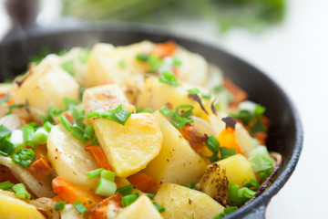 golden pieces of fried potatoes