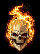 Burning skull on black background