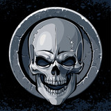 Skull in stone textured circle border on dark background