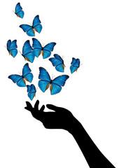 Mano con volo di farfalle blu