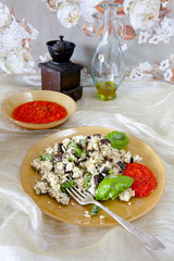 Couscous salad with grilled eggplant fried sweet red pepper