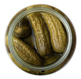 top view on salted cucumbers in glass jar