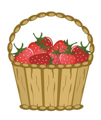 Basket with berries on a white background