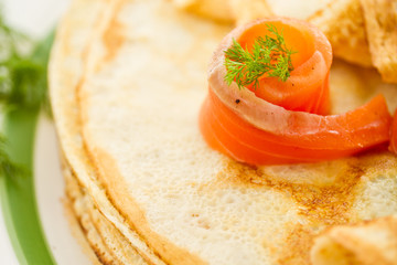 Pancakes with salted salmon