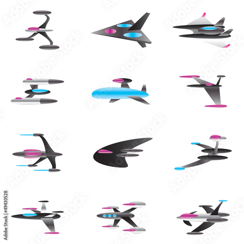 Spaceships in perspective - vector illustration