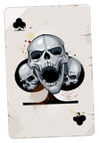 Poker card with skulls