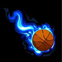 Burning basketball on black background