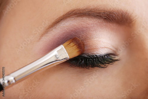Beautiful female eye with bright  make-up, close up