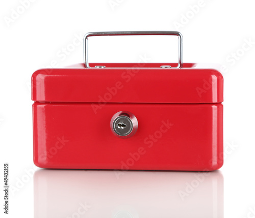 Closed red case isolated on white