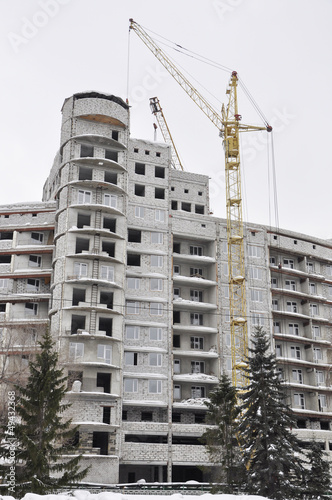 Crane. Building site.