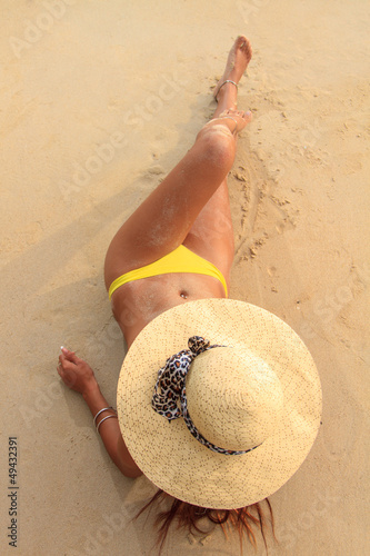 Asian model on the beach