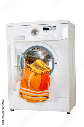 washing machine with a bright, colored wash laundry.