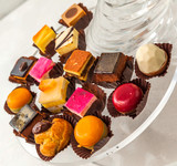Confectionery tray close-up
