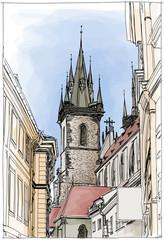 Prague, Czech Republic. Vector. Eps10