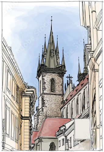 Prague, Czech Republic. Vector. Eps10