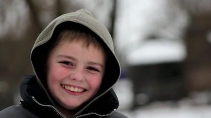 winter village boy, laughing boy