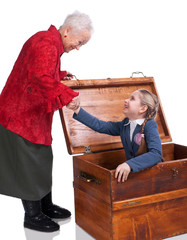 Grandmother finding her granddaughter in the chest