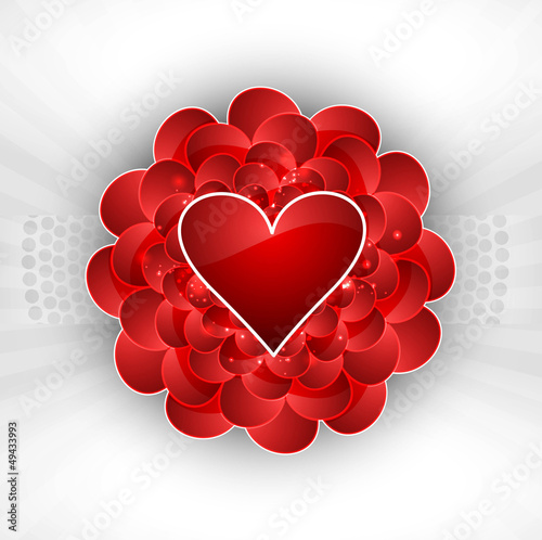 Valentine's day red hearts colorful wedding card white backgroun