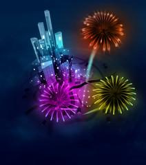 three firework explosions sabove modern city