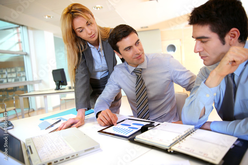 Business team working on sales results