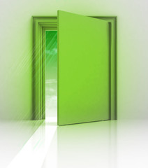 green frame doorway with flare
