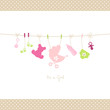 Baby Girl Hanging Symbols Dots Border
