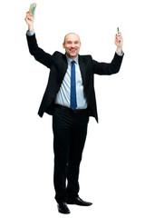 Happy man holding money and phone, isolated on white background