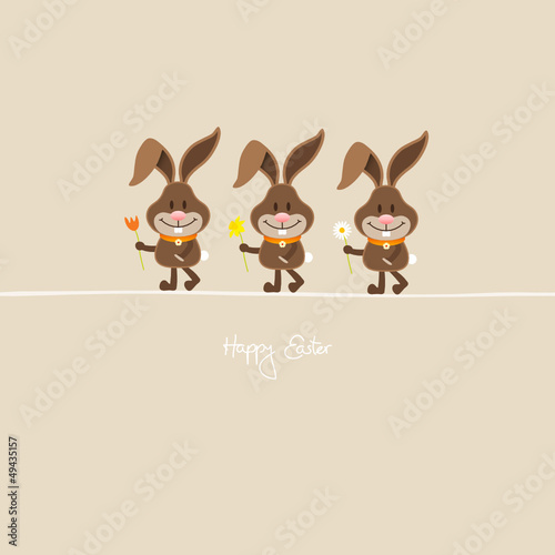 3 Bunnies Holding Spring Flowers Beige