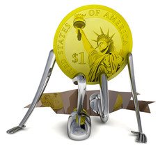 dollar coin climb from abyss front view illustration