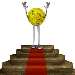 dollar coin victory pose on red carpet illustration