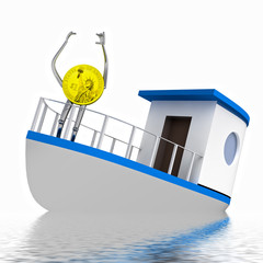 dollar coin on the sinking boat illustration