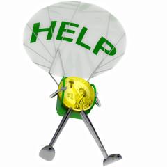 dollar coin robot paratrooper bring help illustration