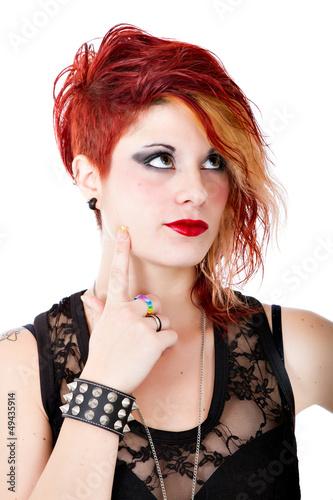 punk woman thinking