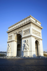 vertical view of famous Arc de Triomphe