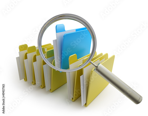 folders and magnifier
