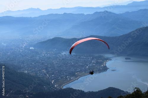 Fototapeta Paragliding in Nepal, an adventurous sport