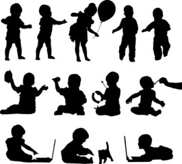 Silhouettes active playful babies and children
