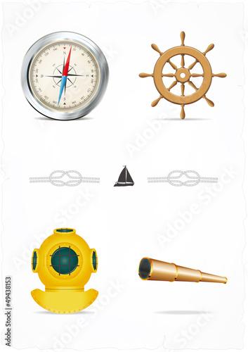 Vector set of nautical design elements