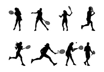 tennis player silhouettes and shadows