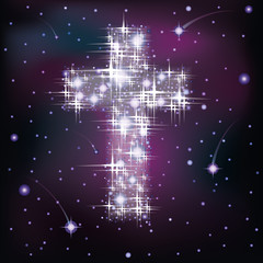 Cross in starry sky, vector illustration